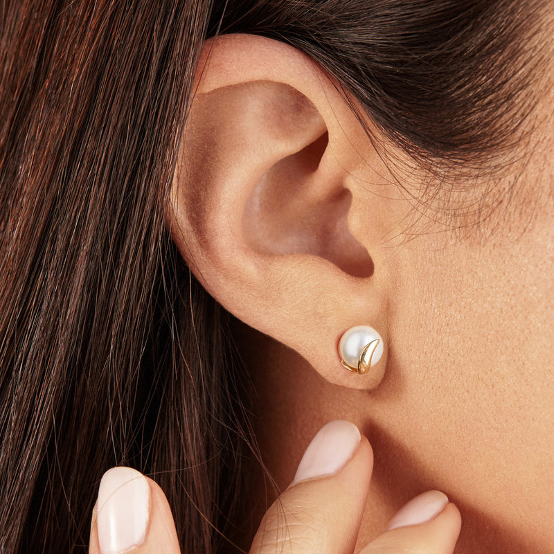 Solid Gold Pearl Studs