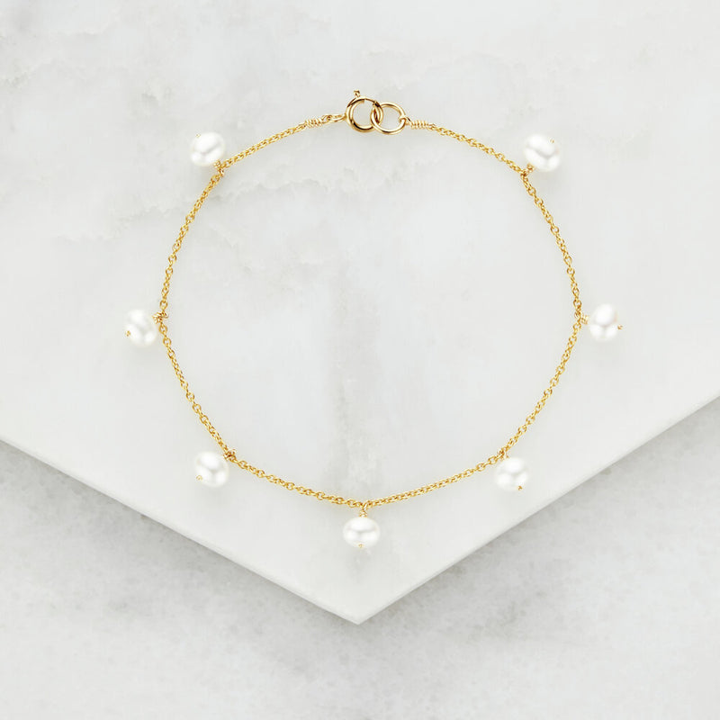 Gold Pearl Drop Bracelet