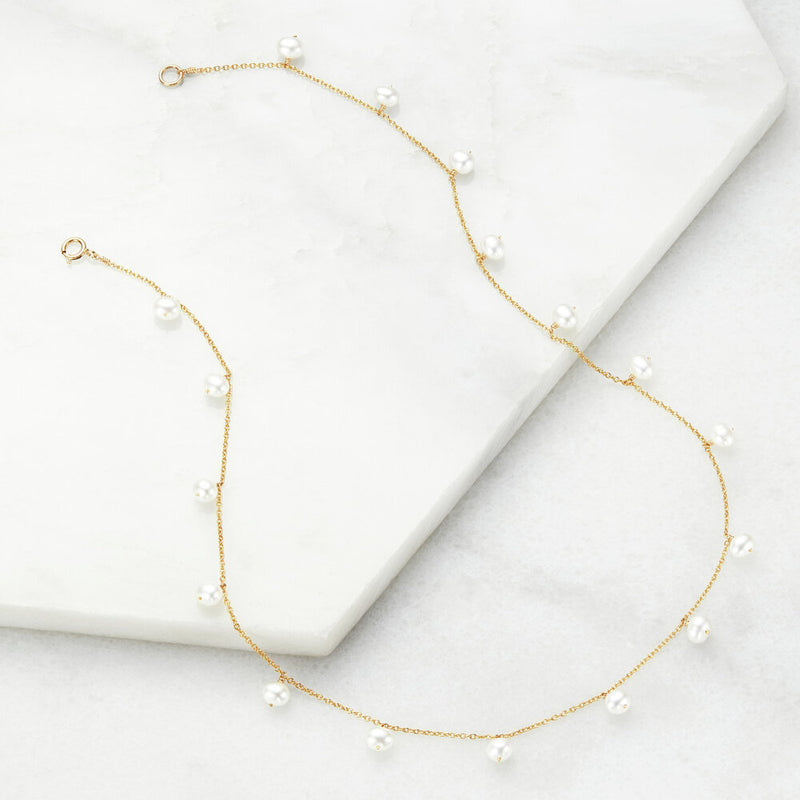 Gold Pearl Drop Choker