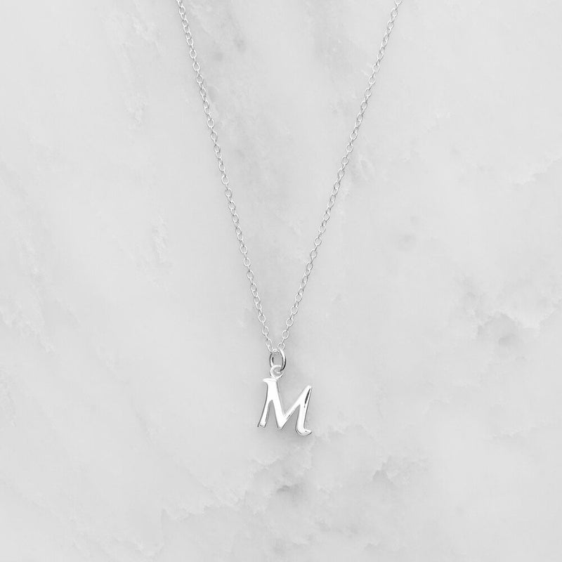 Silver Curve Initial Letter Necklace