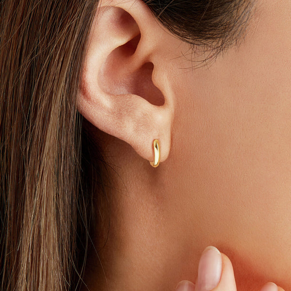 Gold Small Rounded Plain Huggie Hoop Earrings