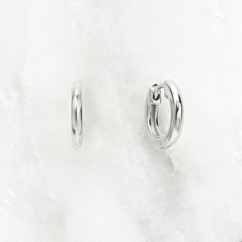 Silver Small Rounded Plain Huggie Hoop Earrings