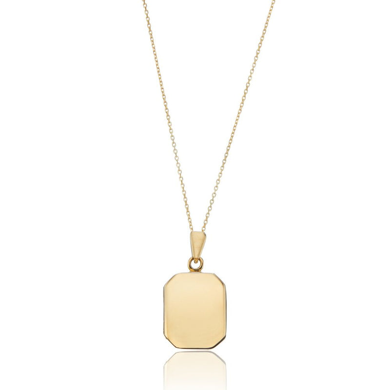 Solid Gold Small Square Locket Necklace