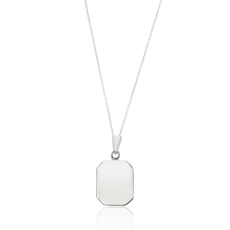 Silver Small Square Locket Necklace
