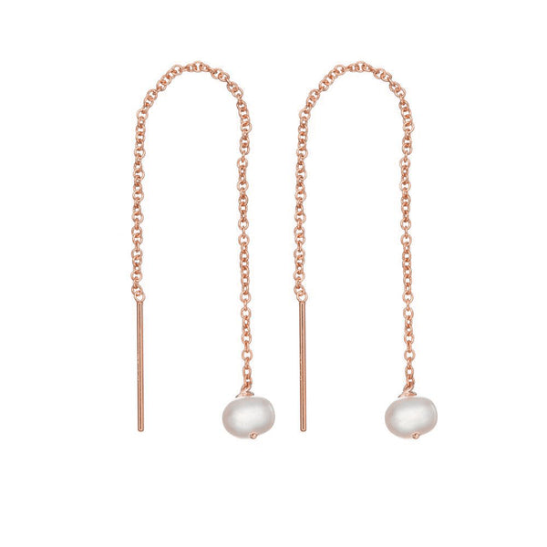 Rose Gold Pearl Drop Ear Threaders