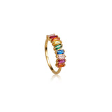Gold Rainbow Gemstone Cluster Ring