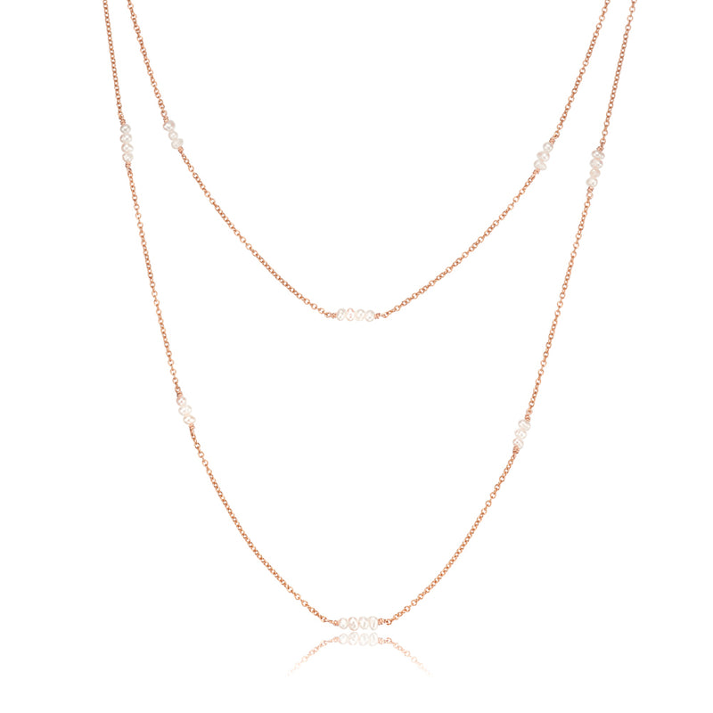 Rose Gold Layered Mini Pearl Necklace