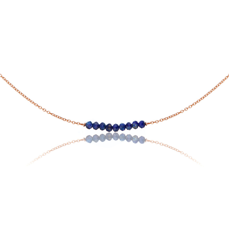 Rose Gold Lapis Gemstone Cluster Choker