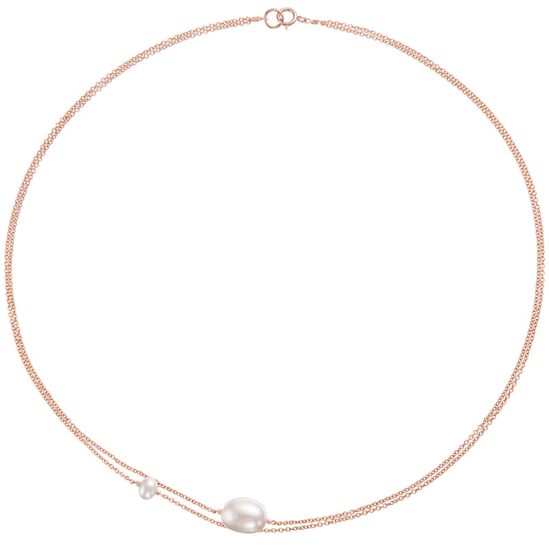 Rose Gold Layered Large and Small Pearl Choker