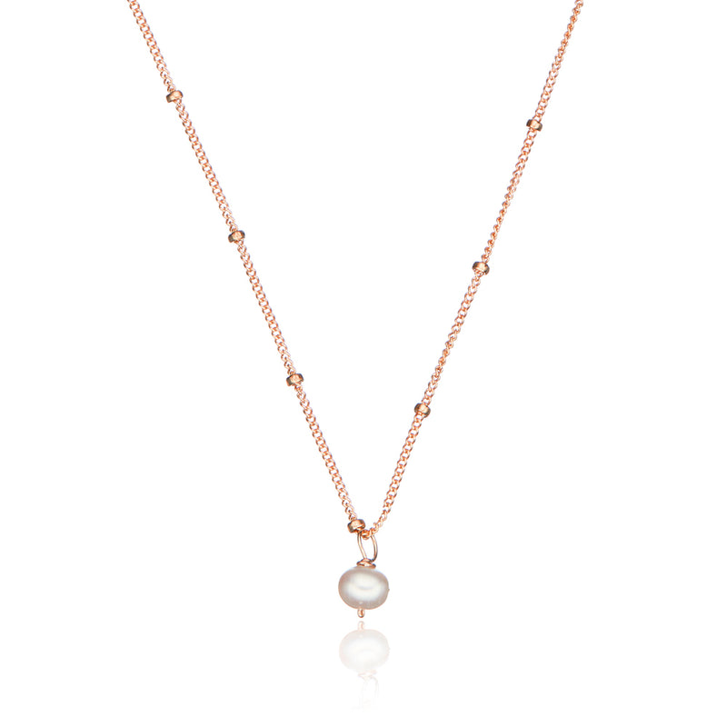 Rose Gold Single Pearl Satellite Necklace