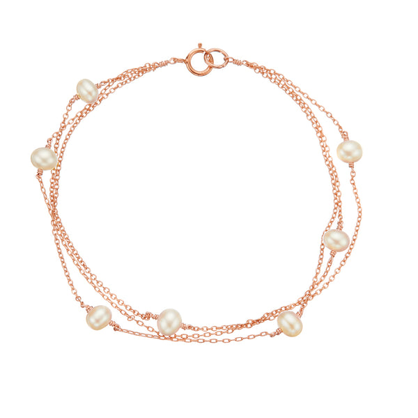 Rose Gold Layered Pearl Bracelet