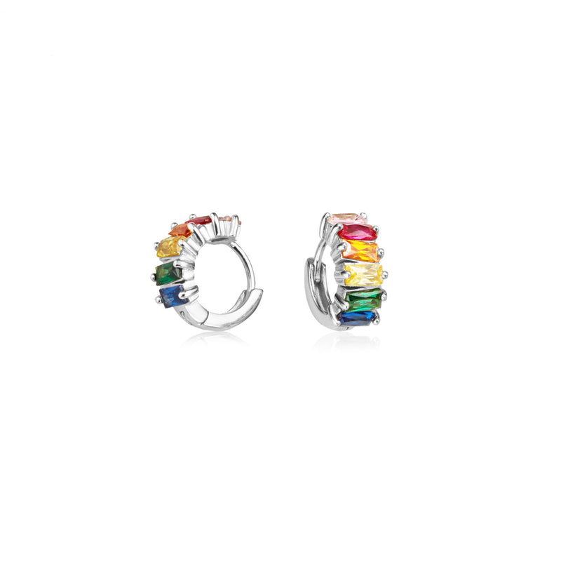 Silver Rainbow Gemstone Cluster Huggie Hoop Earrings