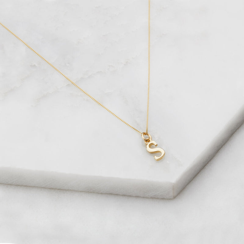 Solid Gold Curve Initial Letter Necklace