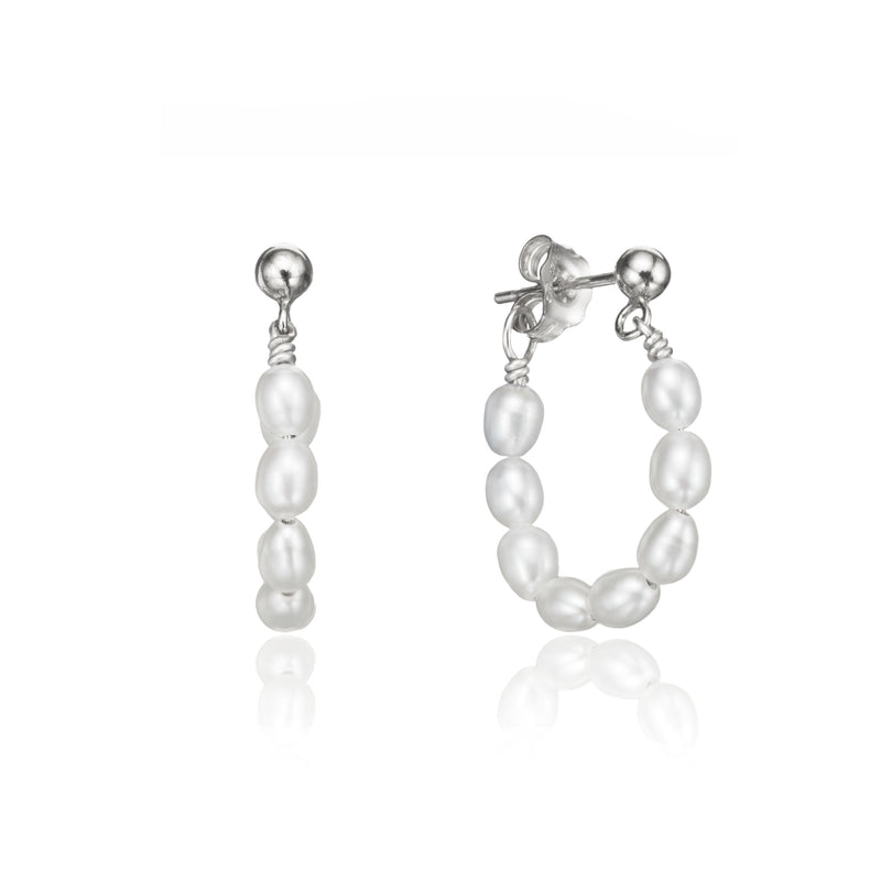 Silver Seed Pearl Hoop Earrings