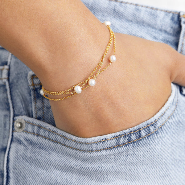 Gold Layered Pearl Bracelet