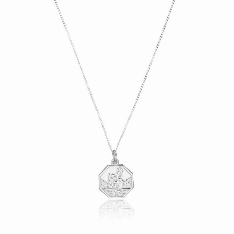 Silver Small Octagonal St Christopher Necklace