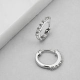 Silver Genuine Diamond Huggie Hoop Earrings