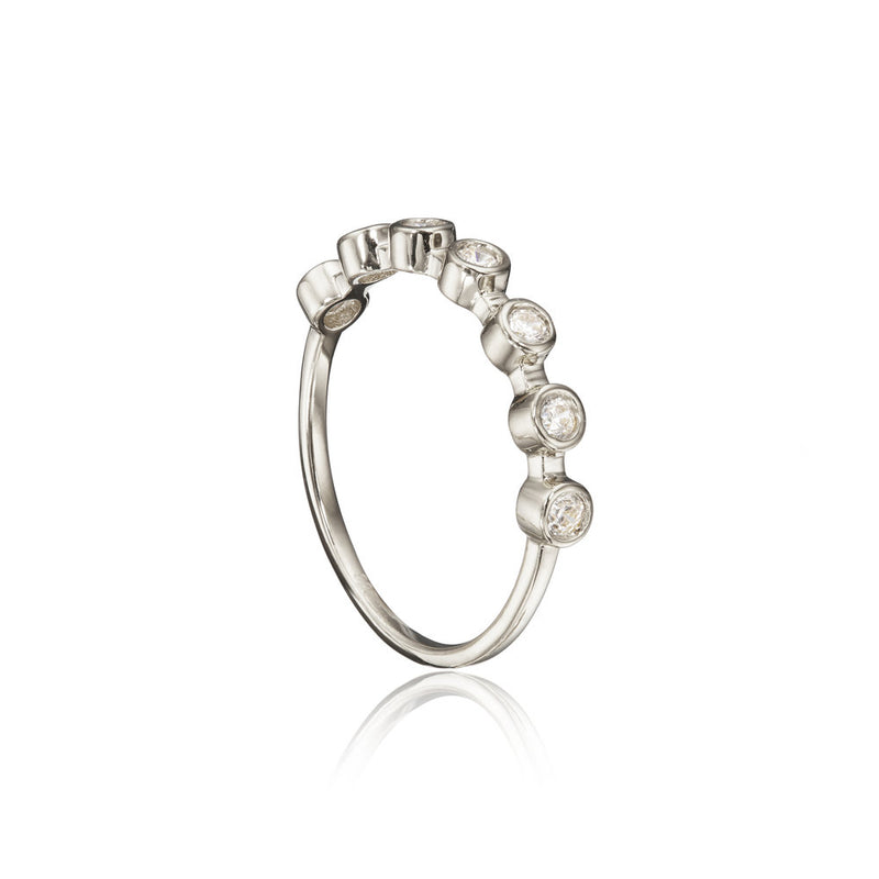 Silver Diamond Style Round Eternity Ring