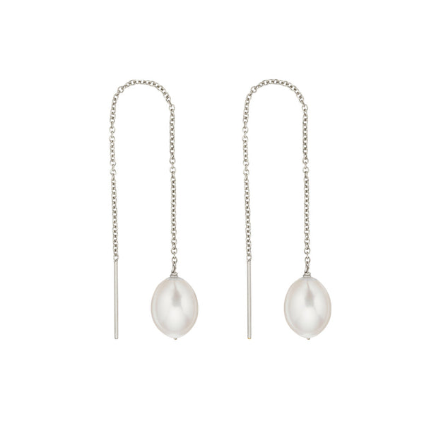 Silver Large Pearl Drop Ear Threaders