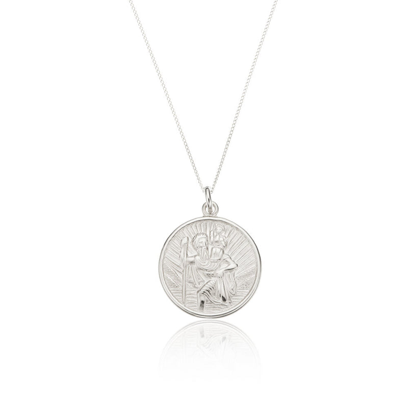 Silver Medium Round St Christopher Necklace