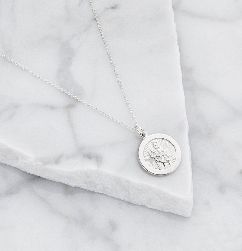 Silver Small Round St Christopher Medallion Necklace