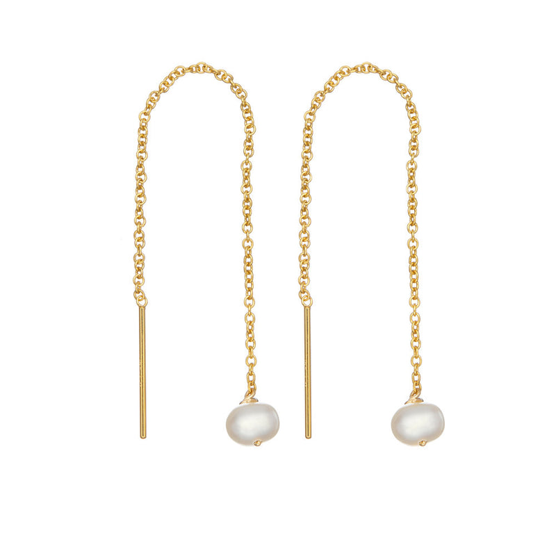Gold Pearl Drop Ear Threaders