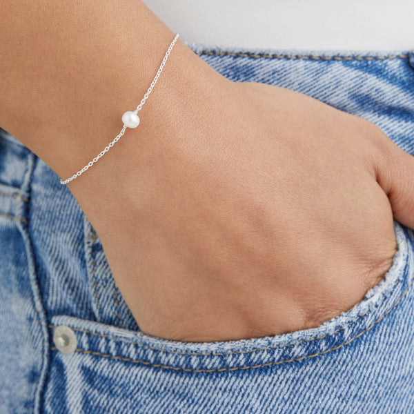 Silver Single Pearl Bracelet