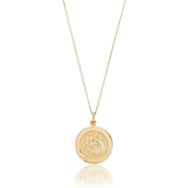 Solid Gold Small Round St Christopher Medallion Necklace