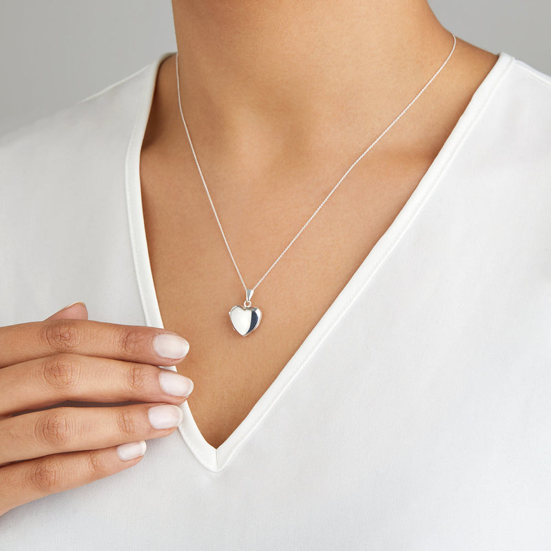 Silver Small Heart Locket Necklace