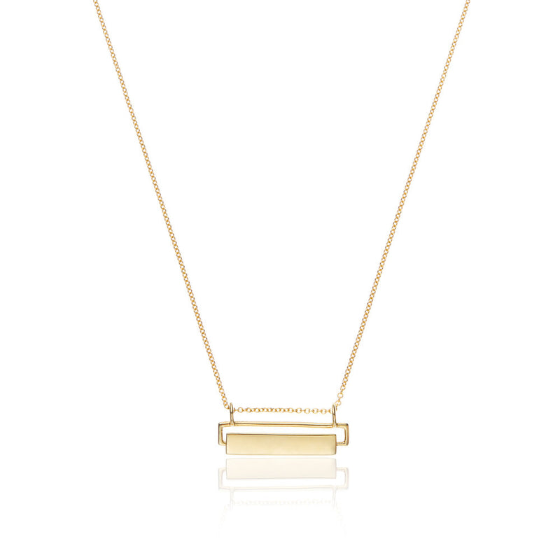 Gold Spinning Nameplate Necklace