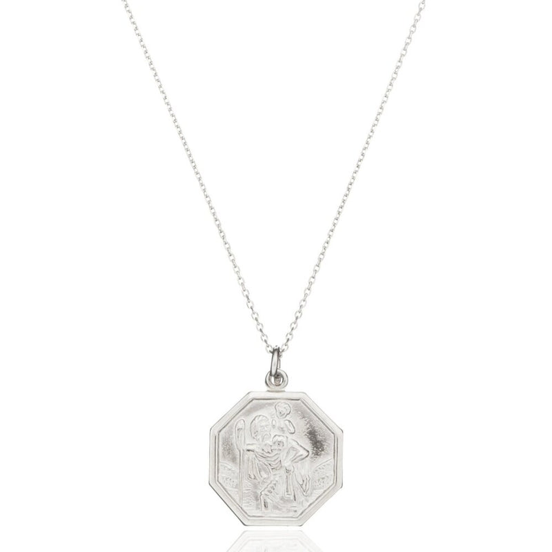 Silver St Christopher Octagonal Medallion Necklace