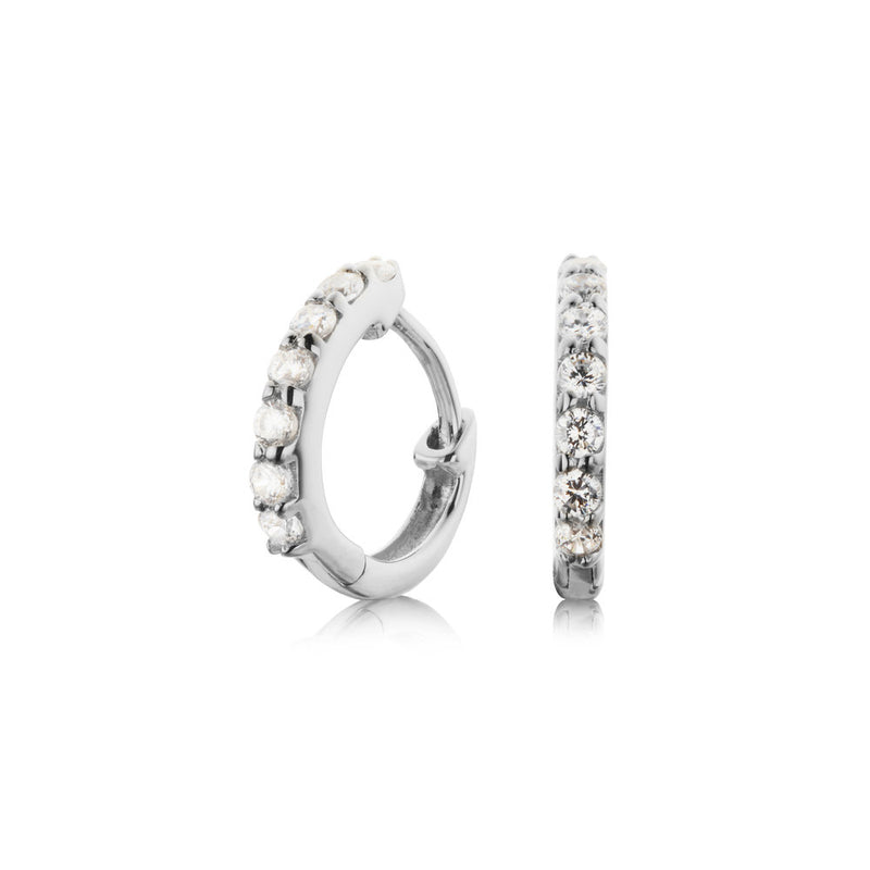 Silver Diamond Style Huggie Hoop Earrings
