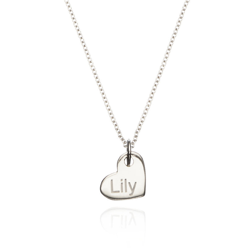 Silver Small Personalised Heart Necklace