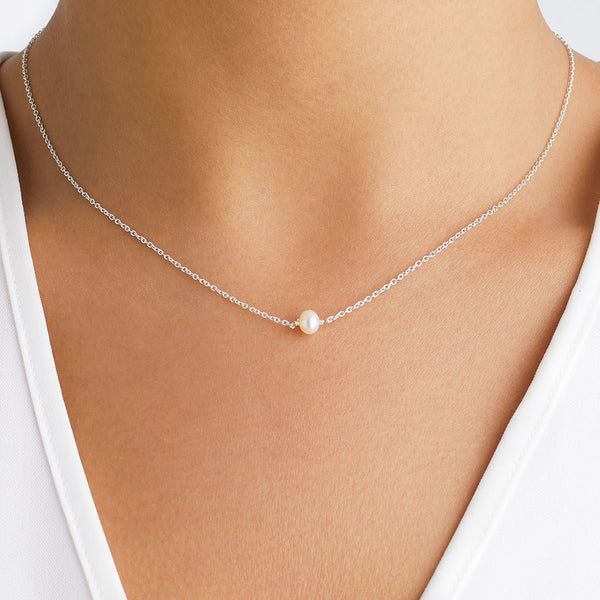 Silver Single Pearl Choker