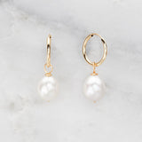 Silver Large Pearl Drop Hoop Earrings