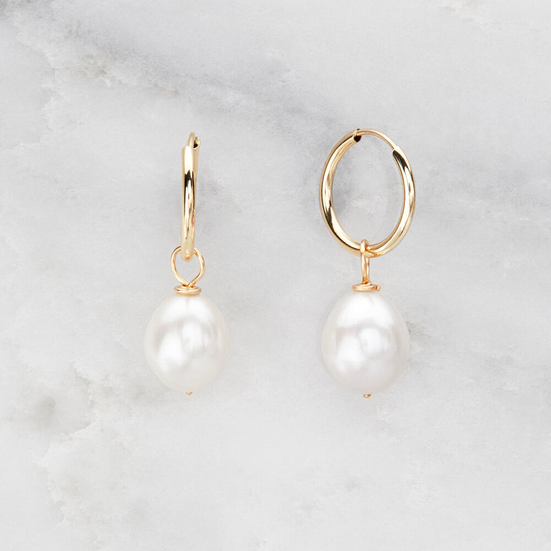 Solid Gold Large Pearl Drop Hoop Earrings