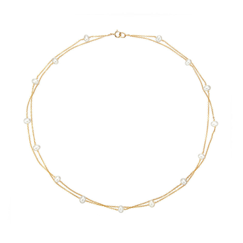 Gold Layered Pearl Necklace