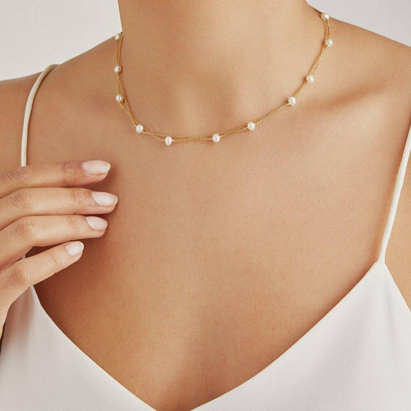 Rose Gold Layered Pearl Necklace