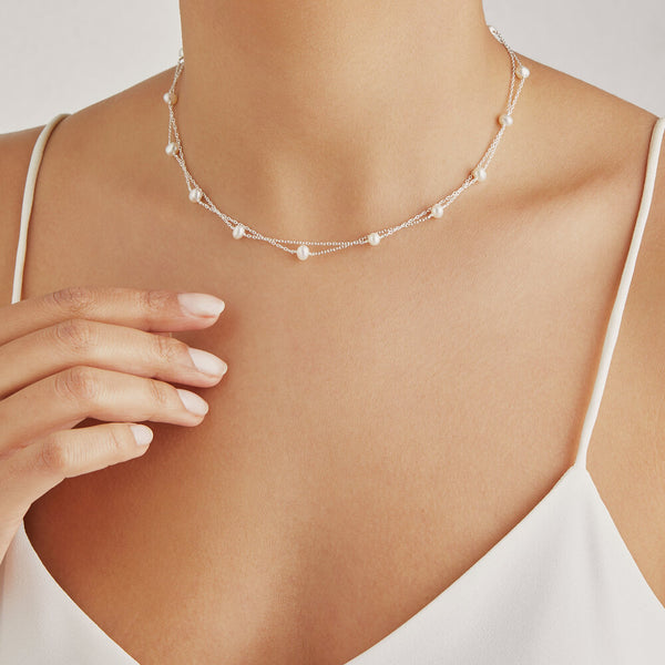 Silver Layered Pearl Necklace