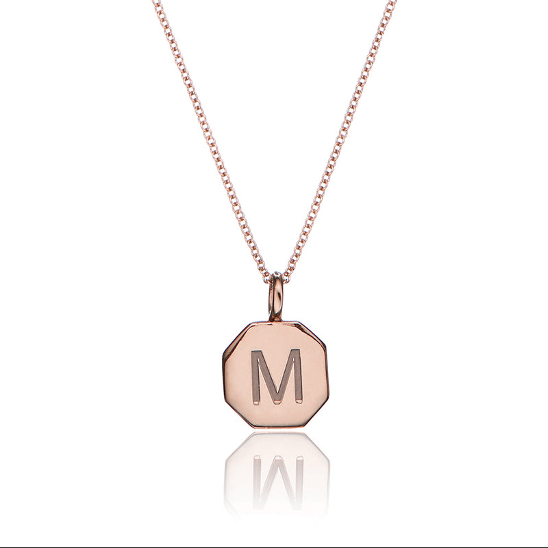 Rose Gold Personalised Hexagon Necklace