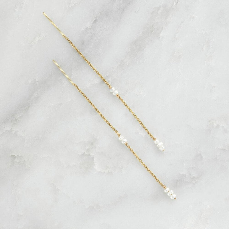 Rose Gold Mini Pearl Ear Threaders