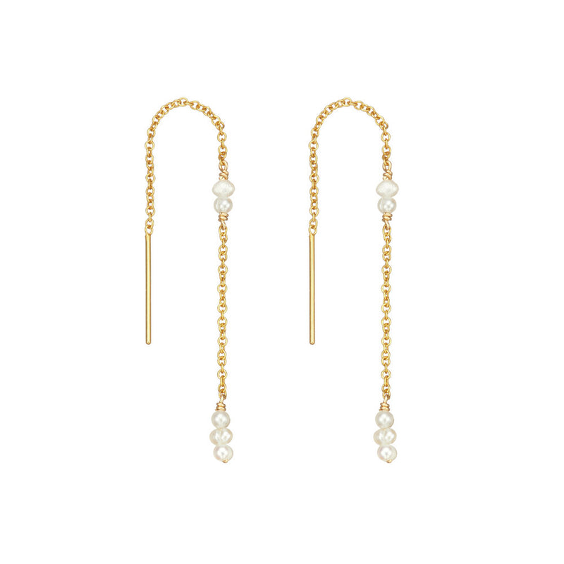 Gold Mini Pearl Ear Threaders