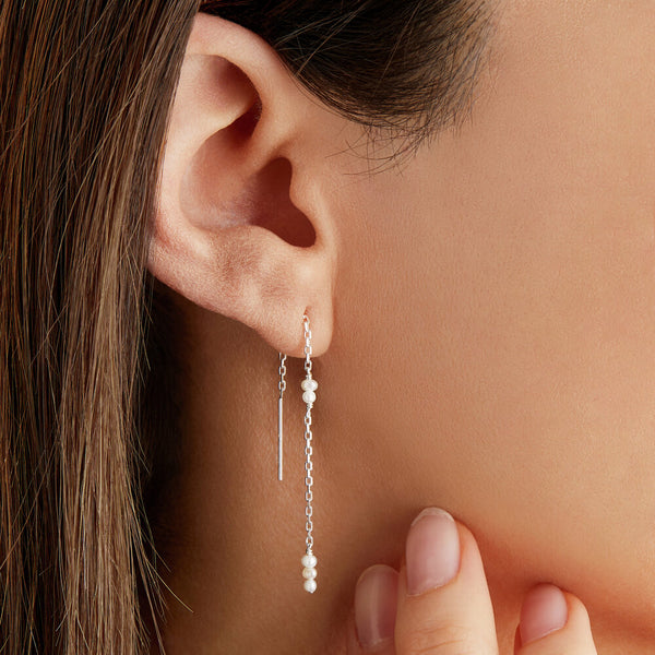 Silver Mini Pearl Ear Threaders