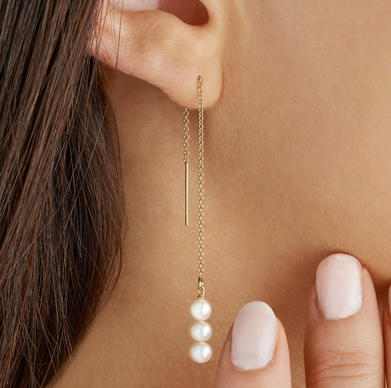 Silver Cluster Pearl Drop Ear Threaders
