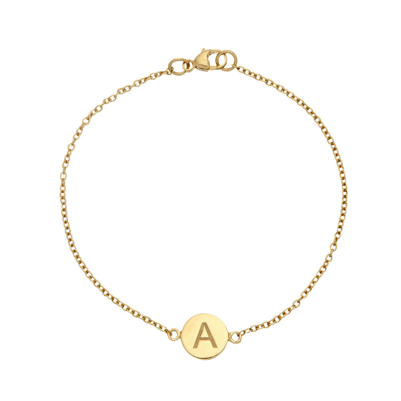 Gold Personalised Disc Bracelet