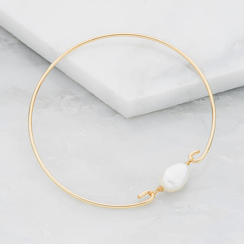 Silver Large Pearl Bangle