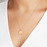 Gold Large Engraved Disc Necklace