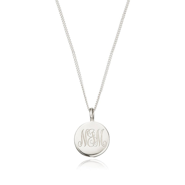 Silver Large Engraved Disc Necklace