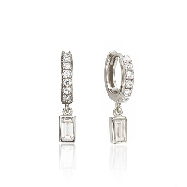 Silver Diamond Style Baguette Drop Huggie Hoop Earrings