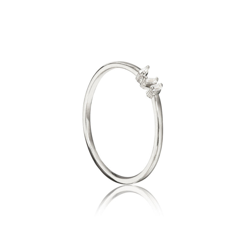 Silver Diamond Style Three Baguette Ring